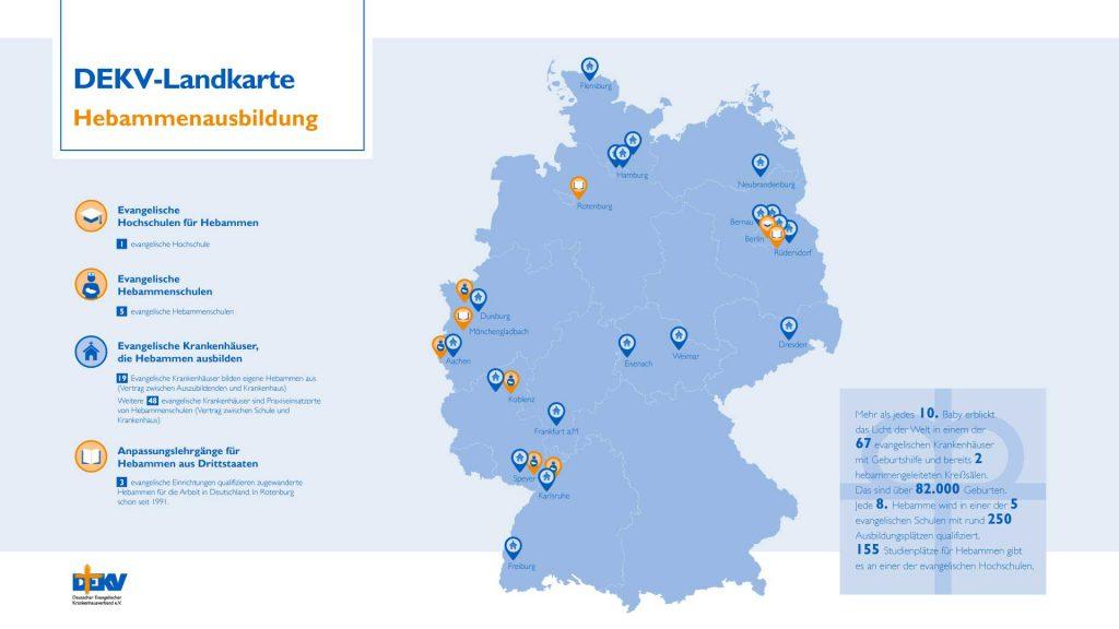 DEKV Landkarte Hebammenausbildung